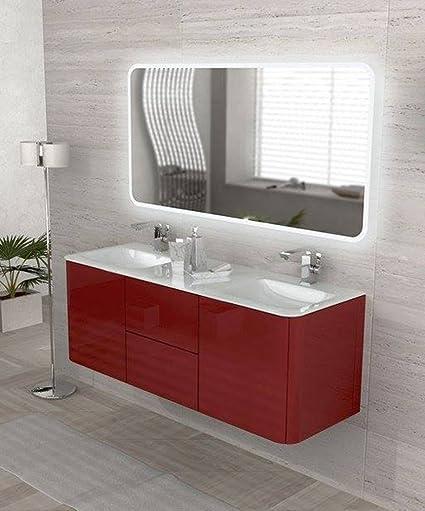 Mobile bagno sospeso moderno Liverpool rosso, misura cm140, specchio ...