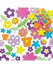 Baker Ross Pegatinas de Flores de Jardín Hechas de Espuma para Artesanía para Niños Perfectas para Decorar Tarjetas Álbumes Collages y Otras Manualidades de Niños (Pack de 200)