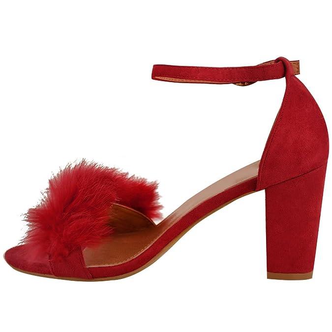 Mujer Piel Sintética mullido Tacón Cuña Baja Sandalias Tiras Fiesta Zapatos número GB - Gris Cuero De Ante, 40