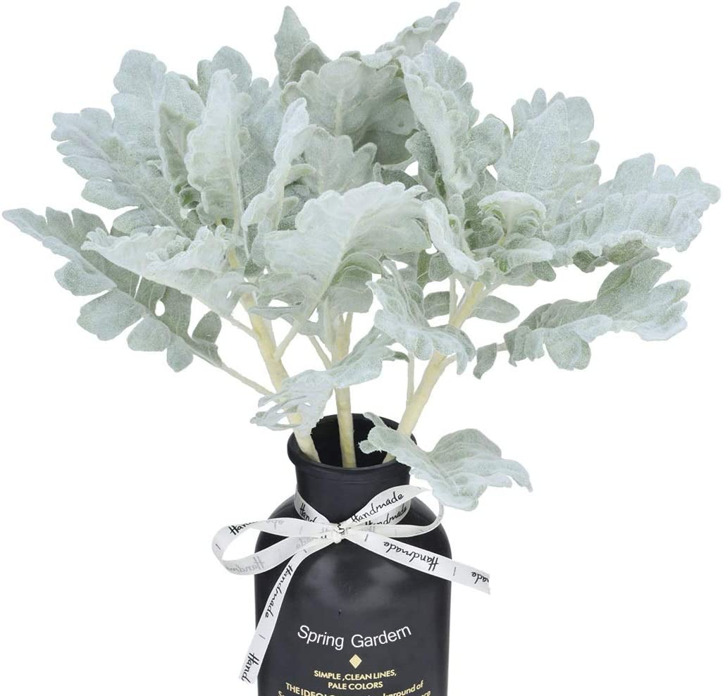 Anna Homey Decor 3PCS Artificial Flocked Lambs Ear Leaf in Silver Artificial Greenery Fake Plants for Wedding Living Room Party Home Garden Decoration Green Leaf Floral Arrangement Decor Fake Plants