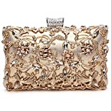 GESU Large Womens Crystal Evening Clutch Bag Wedding Purse Bridal Prom Handbag Party Bag.(Gold)