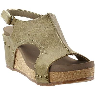 3498006364b Corkys Footwear Women s Mulan Wedge Sandal (Brown