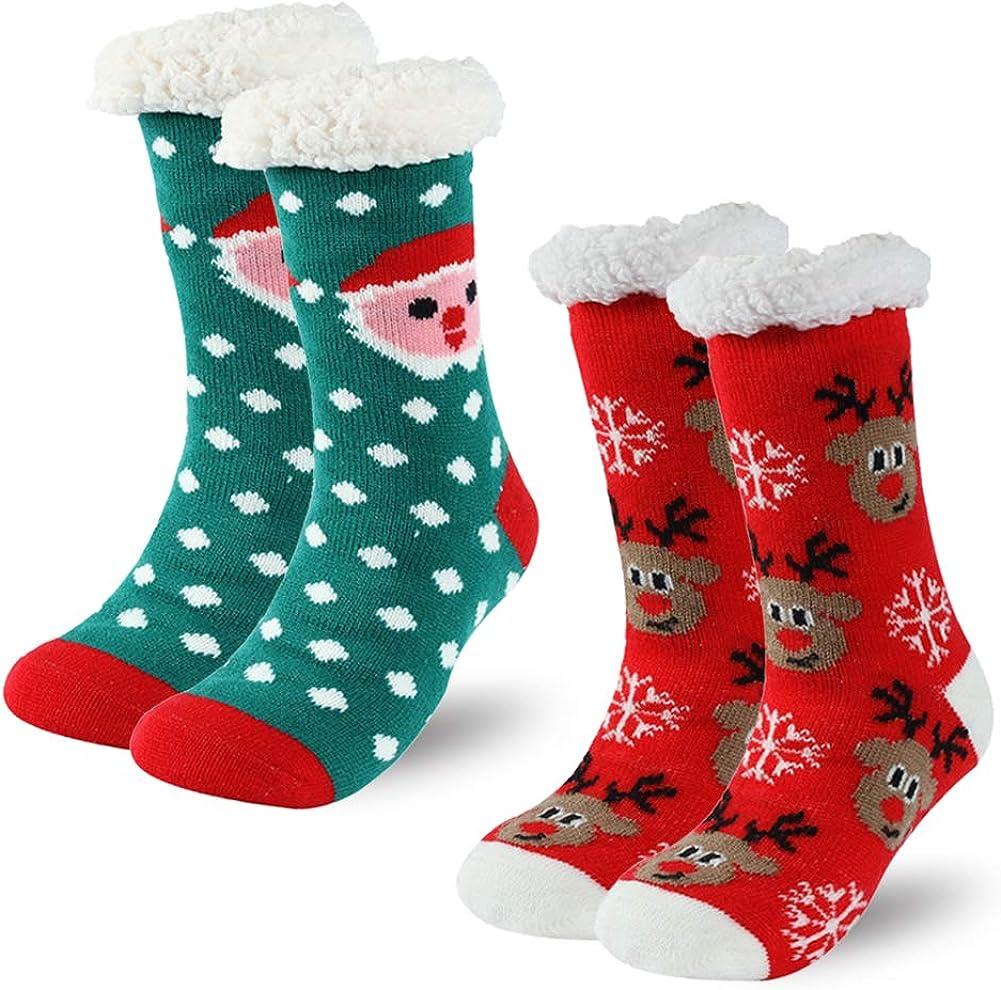 Adult Women Winter Soft Warm Fuzzy Cozy Fleece Lined Slipper Grippers Socks US