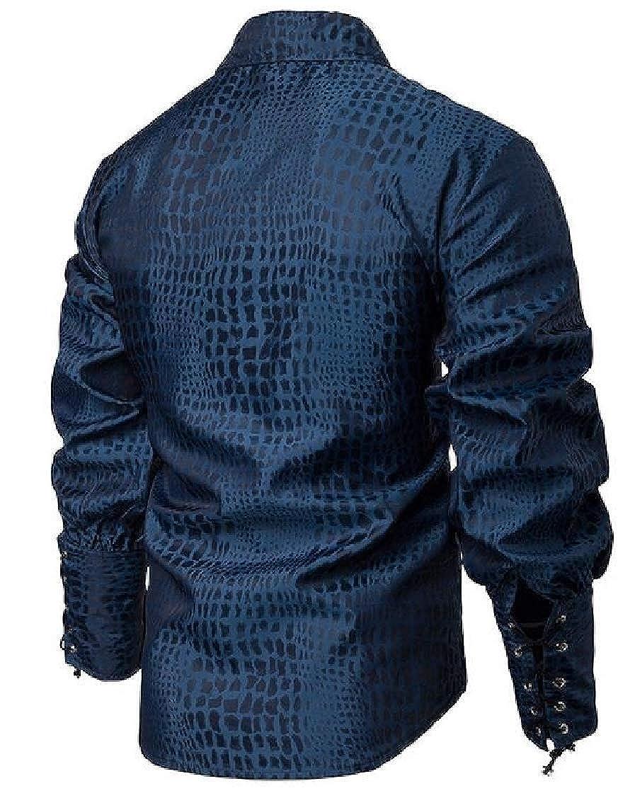 Fensajomon Mens Button Down Plaid Long Sleeve Victorian Fashion Shirts