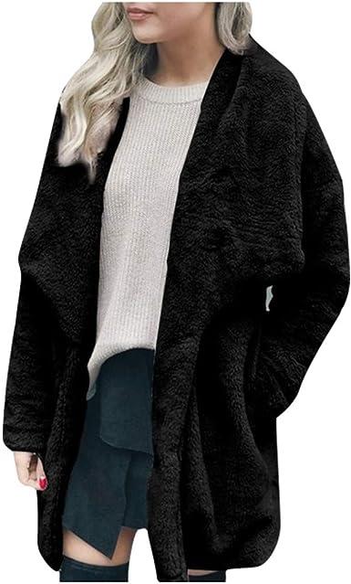 Womens Plush Coat Jacket Lapel Winter Warm Pocket Long Coat