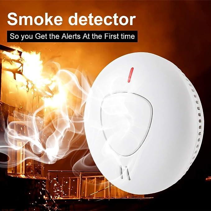 Semoss Alarma de Incendio Detector de Humo 10 A/ños Bater/ía Sensor de Humo Dise/ño Anti Insectos para Casa,Hotel,Escuela Garaje,Sensor Fotoel/éctric con Menos Falsa Alarma,T/ÜV EN 14604