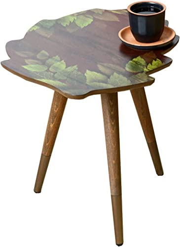 VHD Leaf Design Round Side Table End Table Accent Coffee Table Sofa Table Small Table