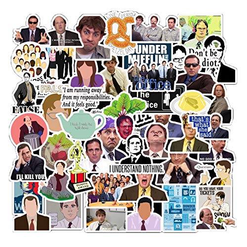The Office Merchandise Stickers 50 pc, Memorabilia for The Office TV Show, Dunder Mifflin Vinyl Sticker for Bumper Laptops Hydro Flask Water Bottles Phone Case - Funny Quote Sticker for Micheal Dwight