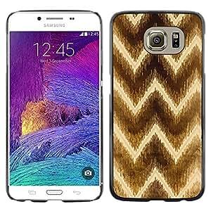 LECELL--Funda protectora / Cubierta / Piel For Samsung Galaxy S6 SM-G920 -- Chevron Brown Pattern Yellow --