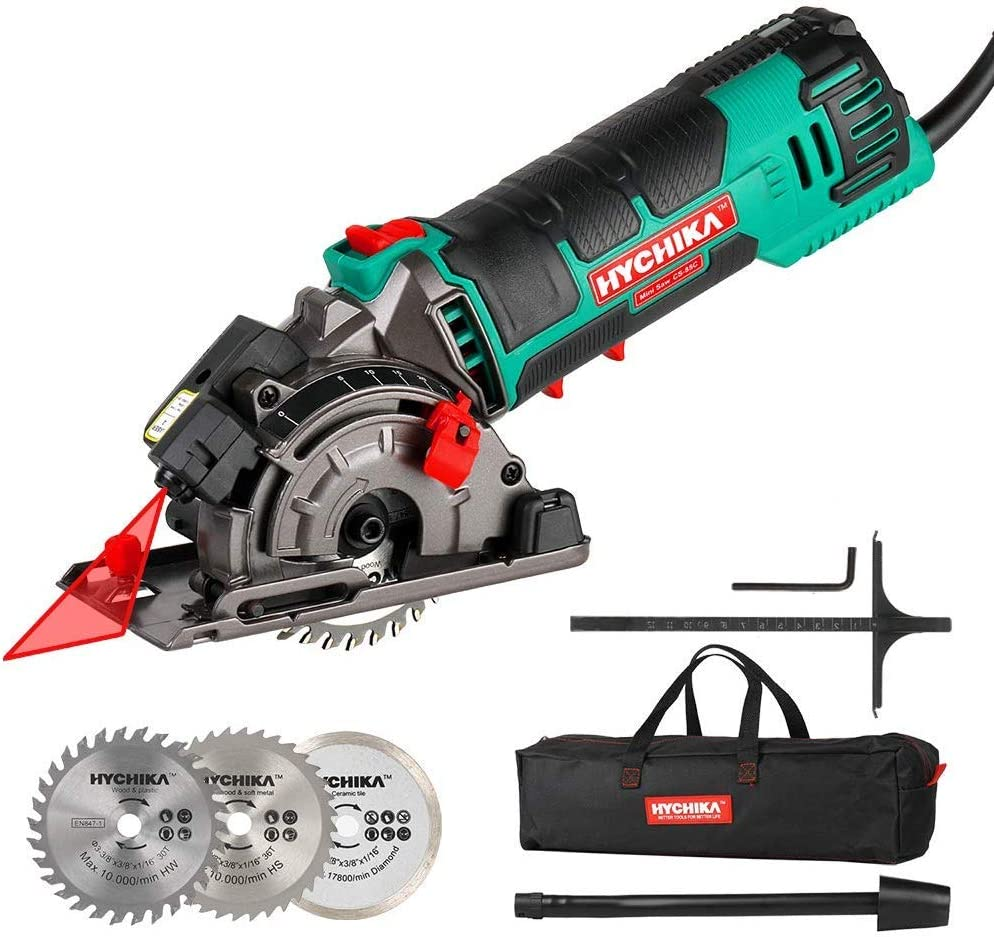 Mini Circular Saw, HYCHIKA Compact Circular Saw Tile Saw with 3 Saw Blades, Laser Guide, Scale Ruler, 4A Pure Copper Motor, 3-3 8 4500RPM Ideal for Wood, Soft Metal, Tile and Plastic Cuts