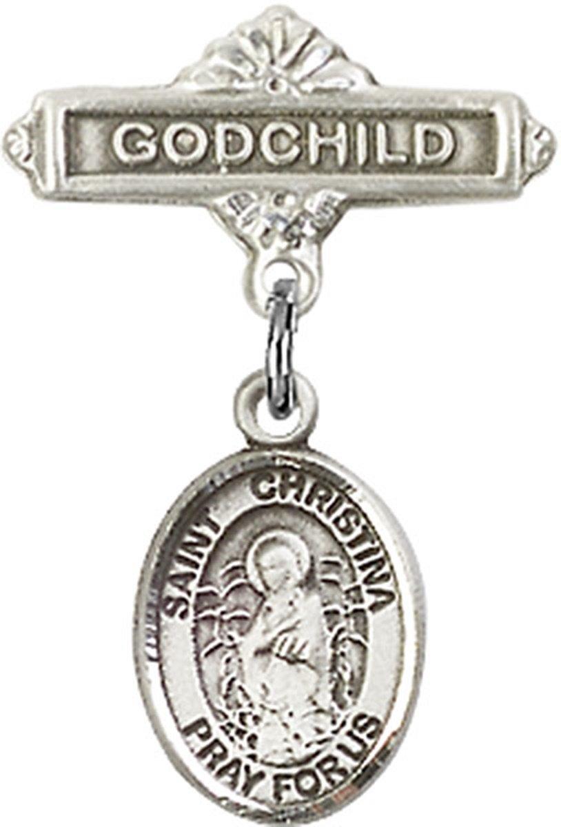 Sterling Silver Baby Badge Godchild Bar Pin with Saint Christina the Astonishing Charm, 11/16 Inch