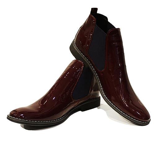 Modello Bereno - Cuero Italiano Hecho A Mano Hombre Piel Borgoña Chelsea Botas Botines - Cuero Charol - Ponerse: Amazon.es: Zapatos y complementos