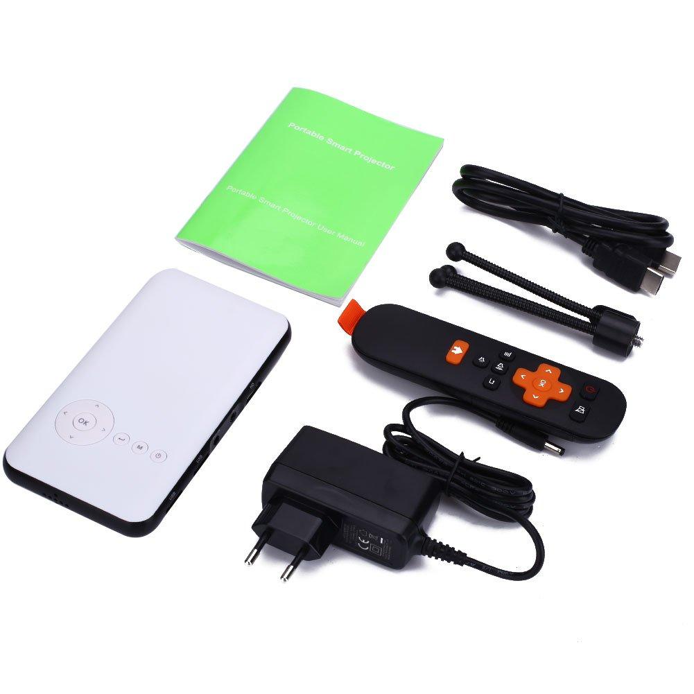 Mini-Projektor, DLP LED, Theater-Projektor zu Hause mit 2 Smart TV-Box in 1 WiFi Blautooth TF USB Er