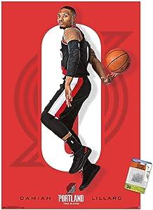 NBA Portland Trail Blazers - Damian Lillard 18 Wall Poster with Push Pins