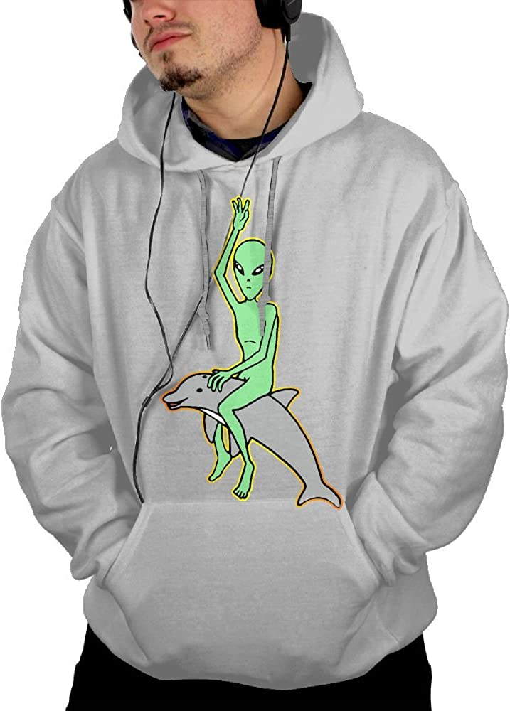 Alien Riding Dolphin Men Cotton Long Sleeved Pullover Adult Hoodies Hooded Sweatshirt Graphic Hoodie