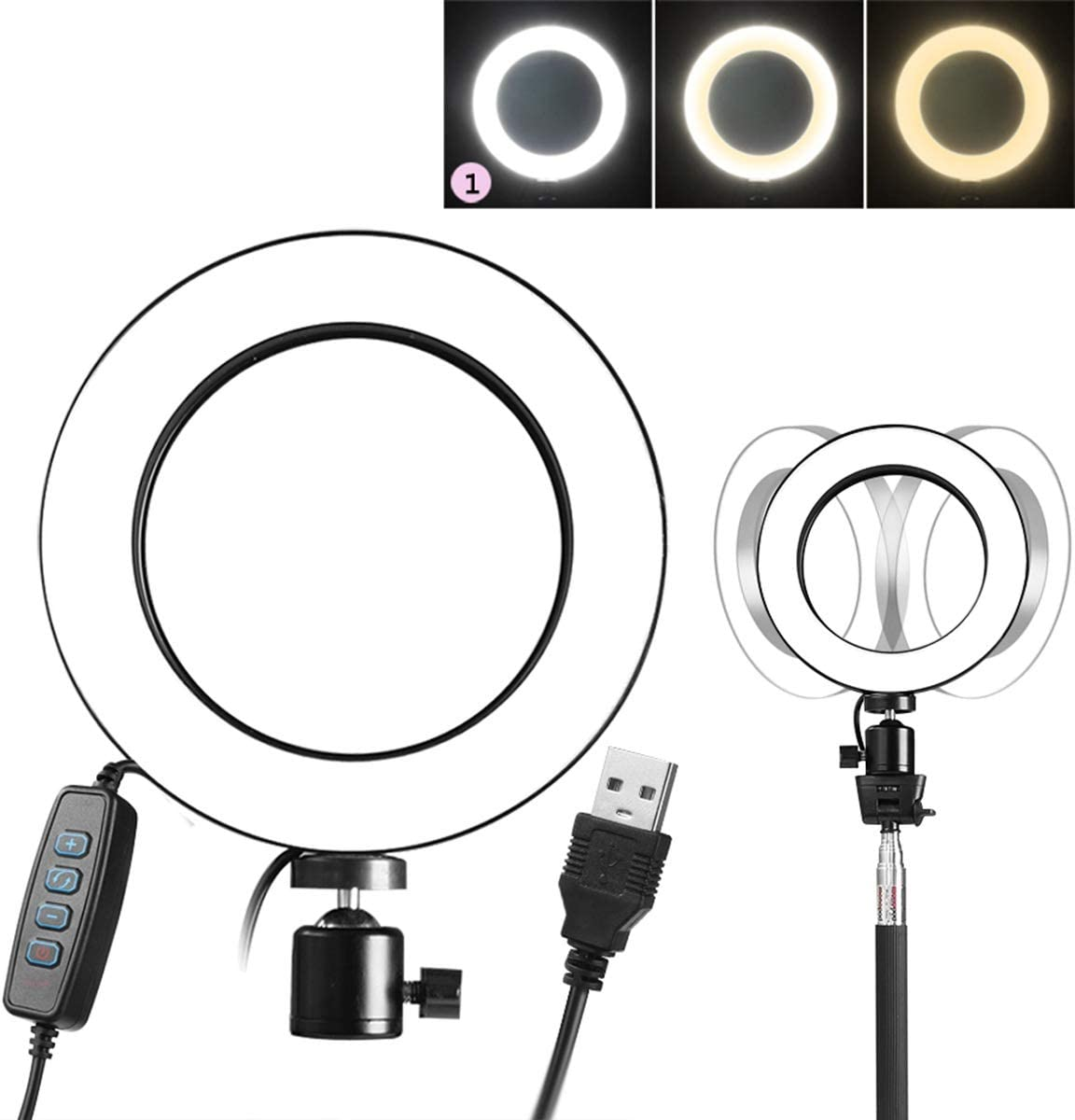 Best-ycldcyp Fill-in Light Ring Photography Selfie Light Photo Lamp Table Mini Tripod Lights 3 Colors Adjustable Brightness USB Powered Universal 1//4 Screw Hole for Tripod, Tripod NOT Included