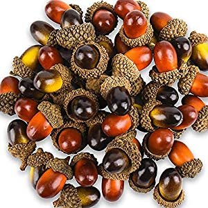 Yarssir 100 Pieces Craft Acorns Artificial Acorn Decor Fake Fruit Props Acorns Decoration Crafting DIY Home Party Wedding Decor Christmas Thanksgiving Festival, 2 Colors 108