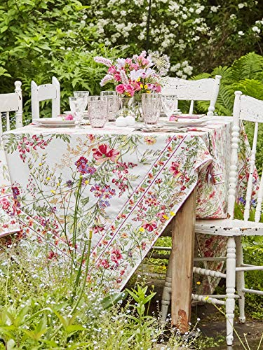 April Cornell Ecru Wildflower Meadow Floral Print 54 x 54 Inch Square 100% Cotton Tablecloth - Seats 4