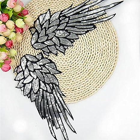 Wicemoon Aufn/äher // Kleiderdekoration 1 Paar aus Stoff bestickt mit Pailletten Design: silberfarbene Fl/ügel