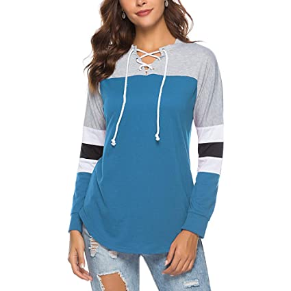 edbcbf2d3a3 Big Women Long Sleeve Tops Daoroka Ladies Sexy Cotton Lace-Up Hollow Out  Tie Front