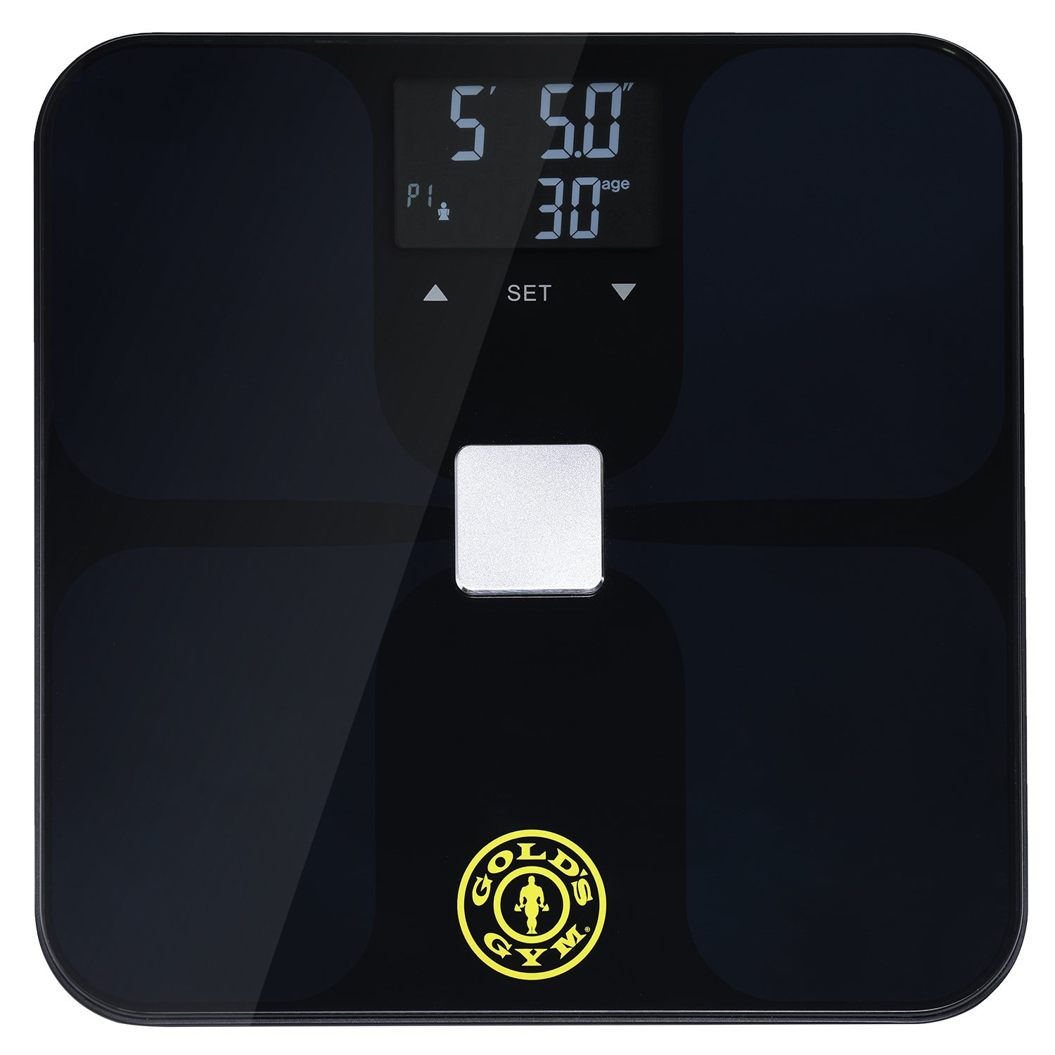 Gold's Gym Smart Biometric Digital Body Composition Fitness Bathroom Scale Measures Weight, BMI, Body Fat, Water and Muscle Mass, Kcal/BMR, Bone Mass - Auto Memory For Up to 9 Users - Black