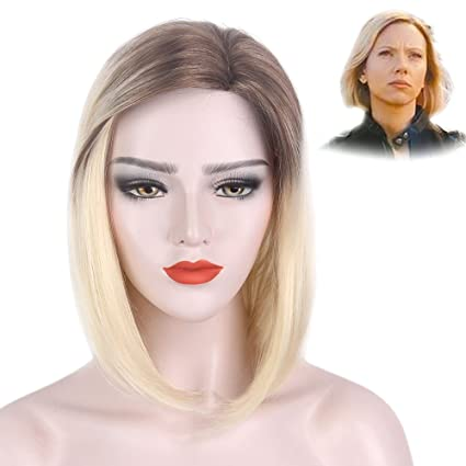 STfantasy - Peluca de rubio de platino, corta, recta, para mujer, pelo