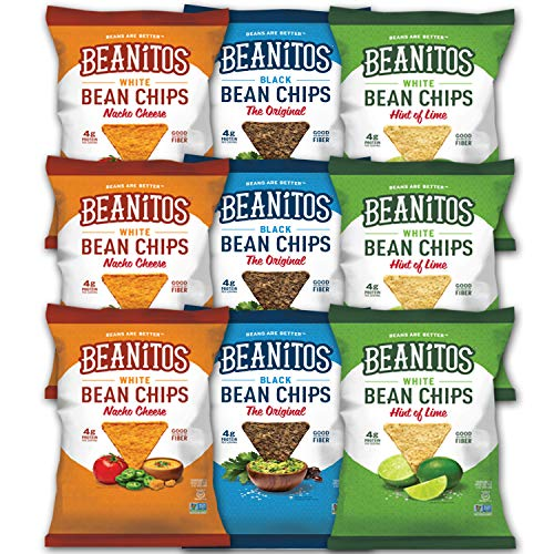 Beanitos Chips Variety Pack 9 Bags 3 Flavors (3 Original Black Bean, 3 Nacho Cheese, 3 Hint of Lime) All Natural Gluten Free Certified Kosher (9 Count), (1.2 oz Each)