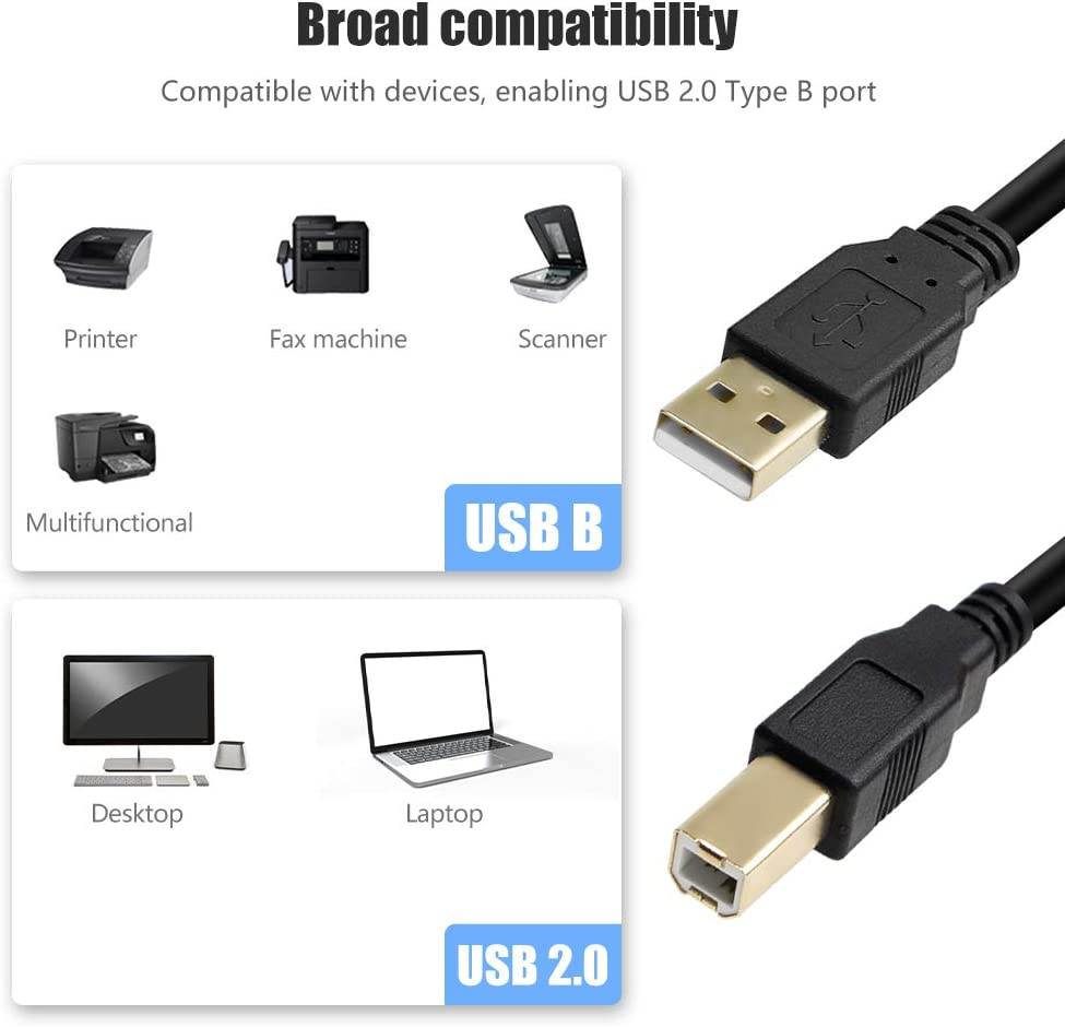 Printer Cord 33FT,USB 2.0 High Speed Gold-Plated Connectors Printer Scanner Cable Cord A Male to B Male for Printers,Scanners,HP,Canon,Dell,Epson,Lexmark,Xerox,Samsung and More USB Cable