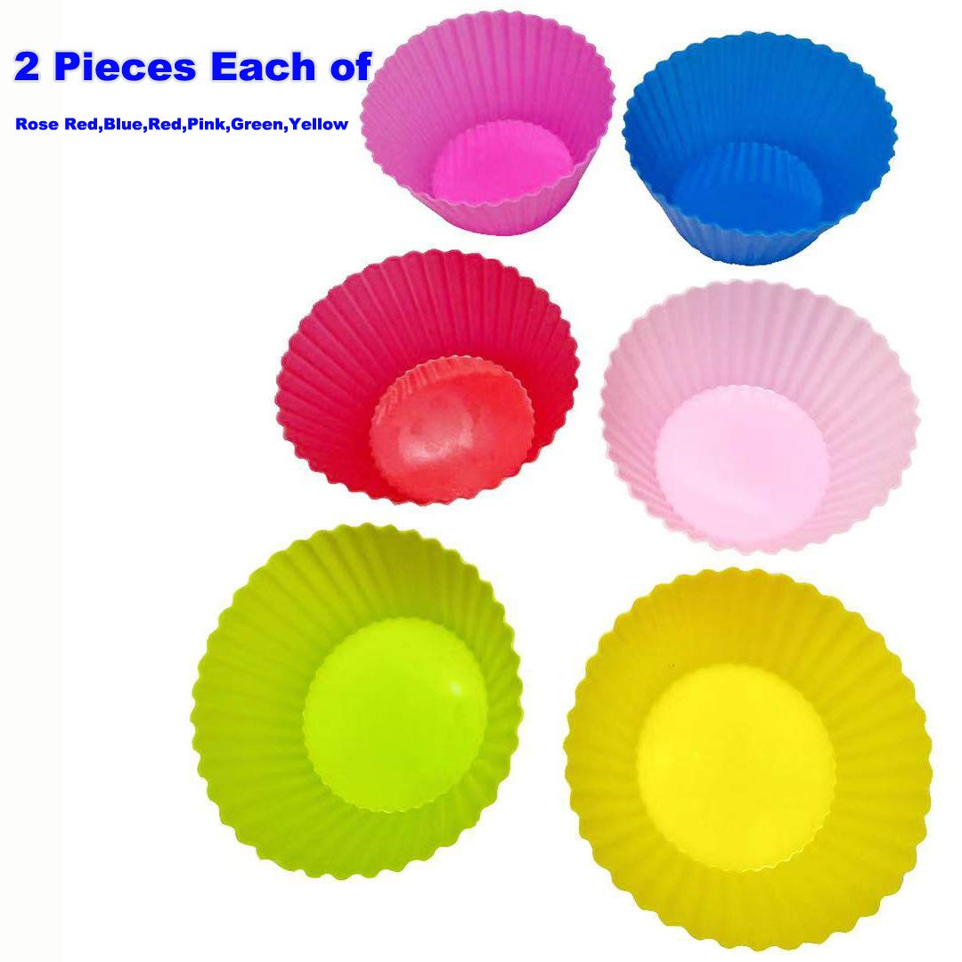 Reusable Silicone Baking Cups,Weagood Non-stick Muffin Cupcake Liners Silicone Baking Molds Pack of 12