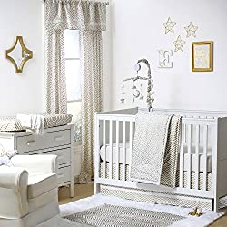Gold Dot and Chevron Zig Zag 4 Piece Baby Crib Bedding Set for girls by The Peanut Shell