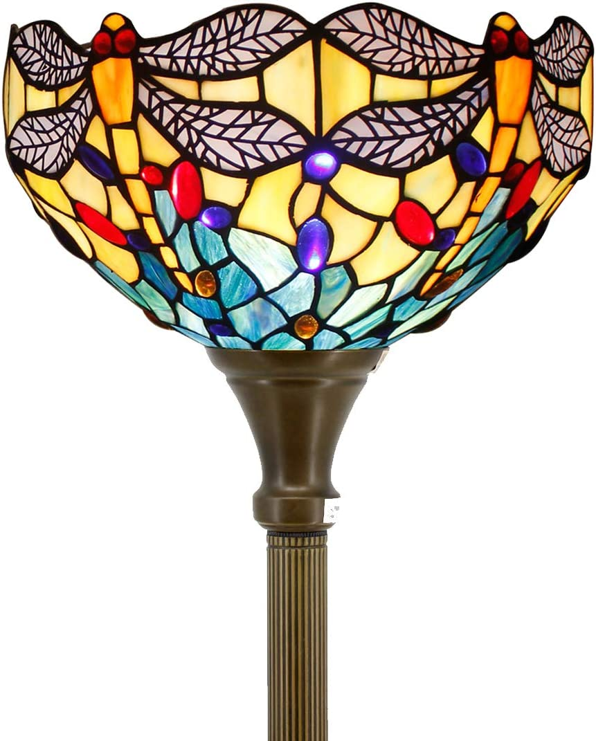 Tiffany Style Torchiere Light Floor Standing Lamp Wide 12 Tall 66 Inch Blue Stained Glass Crystal Bead Dragonfly Lampshade for Living Room Bedroom Antique Table S004 WERFACTORY