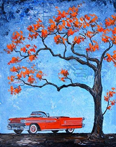 Red 1950's Oldsmobile Convertible Original Oil Painting, tree, car, classic car, gift, present, men, fathers day, Oldsmobile, Original oil (Oldsmobile Convertible Cars)