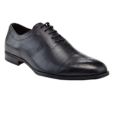 Amazon.com | Adolfo Men's Formal Handcrafted Leather Classic Plain Toe Oxfords Shoes | Oxfords