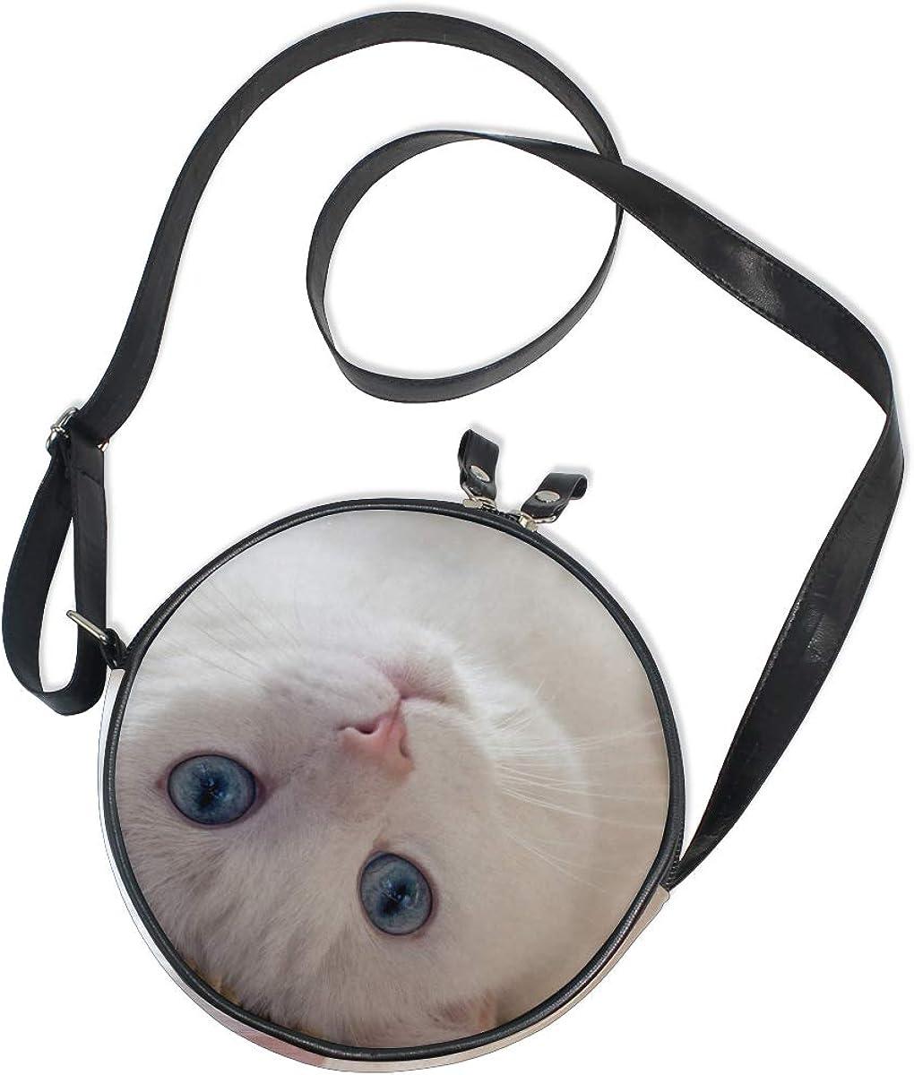 KEAKIA Animals Cats Round Crossbody Bag Shoulder Sling Bag Handbag Purse Satchel Shoulder Bag for Kids Women