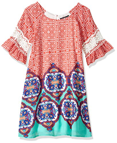 My Michelle Girls' Big Shift Dress with Crochet Trim, Coral Multi 14 (Michelle My Clothes)
