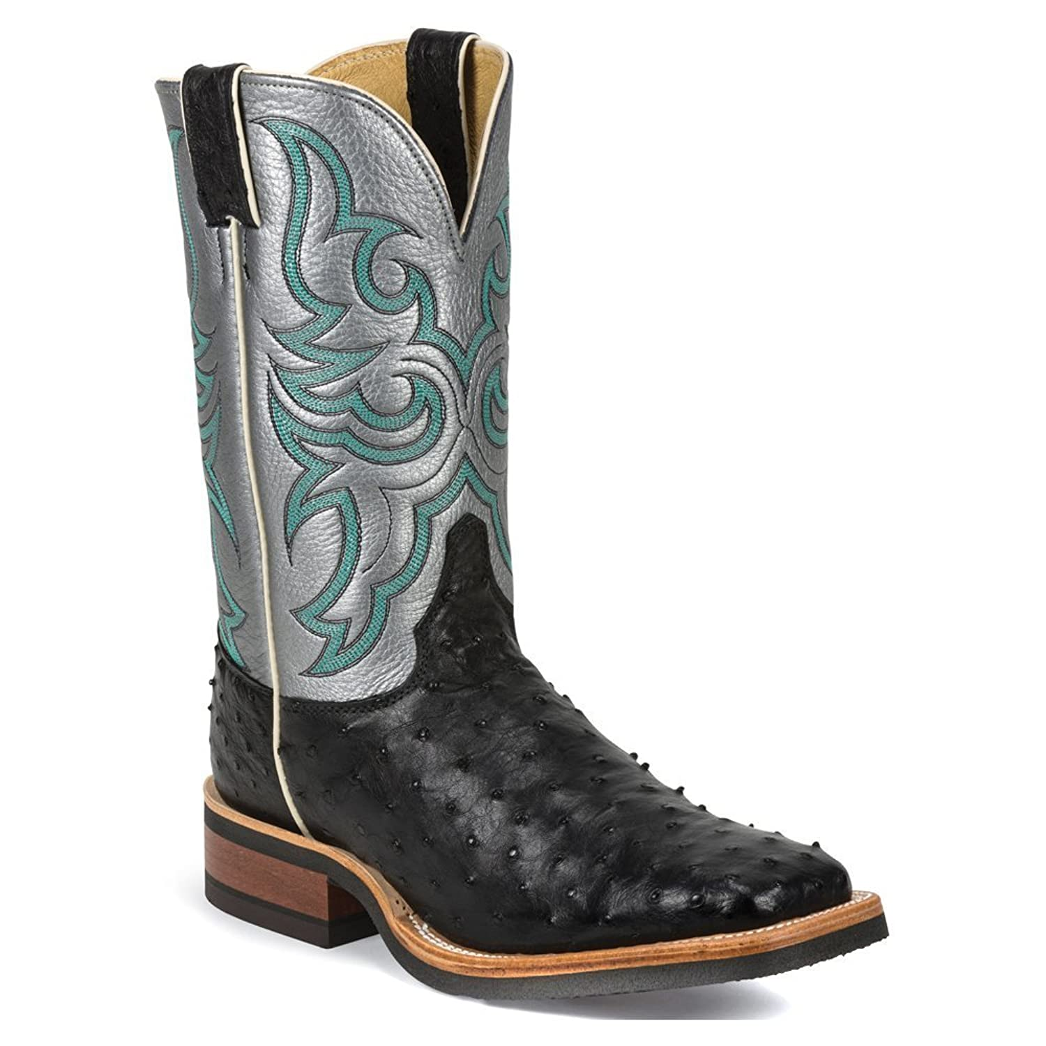 Justin Men's Full Quill Ostrich Bronze Florention Cowboy Boot Square Toe - 8579