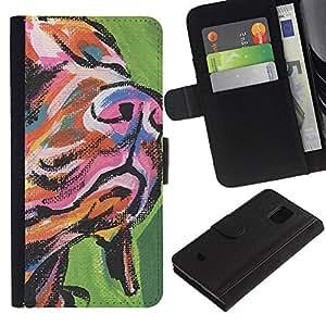 Muzzle Snout Art Dog Painting Colorful - la tarjeta de Crédito Slots PU Funda de cuero Monedero caso cubierta de piel Samsung Galaxy S5 Mini, SM-G800