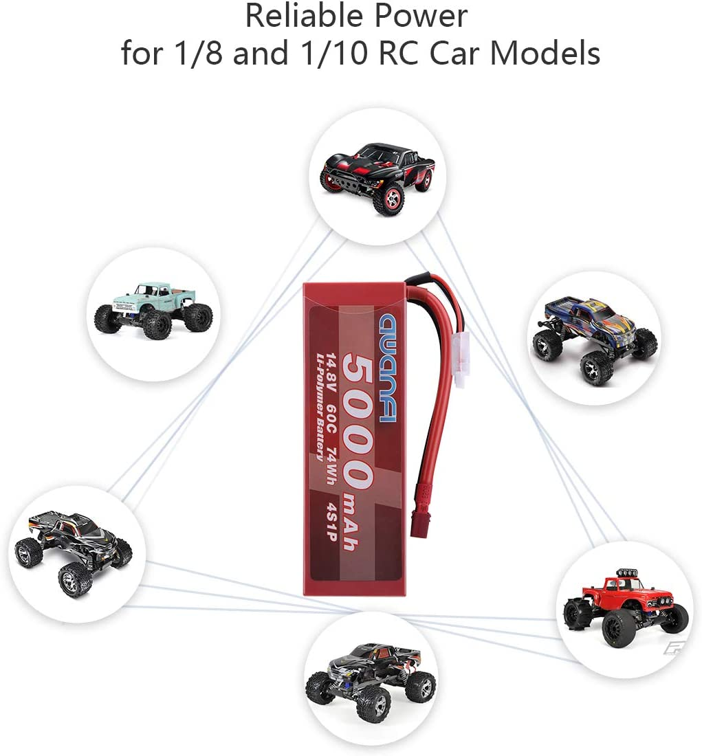 AWANFI 4S 14.8V 5000mAh 60C Hardcase with Deans Plug for Traxxas Slash HPI RC Cars RC Truck RC Boats