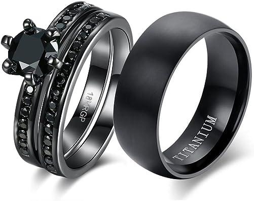 Amazon.com: Anillo de pareja para novia, conjunto de anillos ...