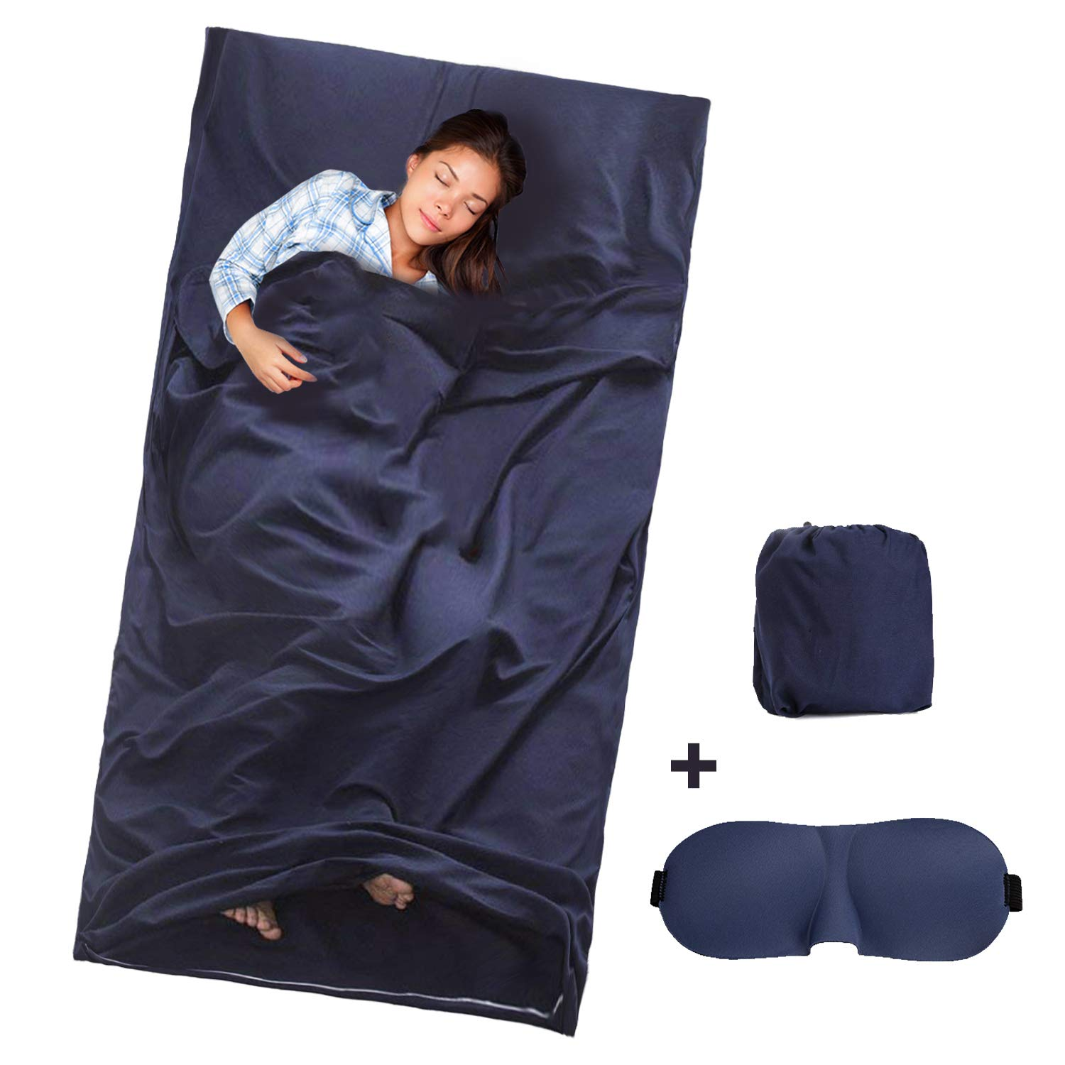 Sleeping Bag Liner Portable Sleep Sack Lightweight Travel Camping Sheet with 3D Eye Cover Sleeping Mask for Hotel Hiking Picnics GUSTYLE