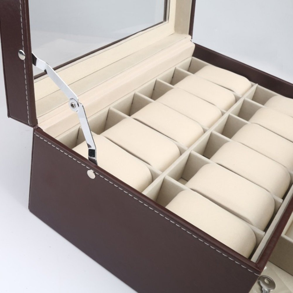 WEATLY Scatola di visualizzazione per Gioielli con Vetro Cassa in Vetro con per orologi (Coloree   Marronee, Style   Double Watch Box) 3f8a29