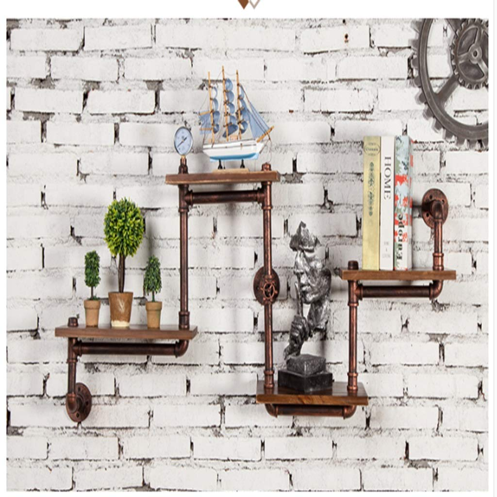 JJ_Industrial 産業風錬鉄製木製壁ラックレトロ壁パーティションリビングルーム装飾壁掛け壁 (色 : B) B07RL4WPRW B