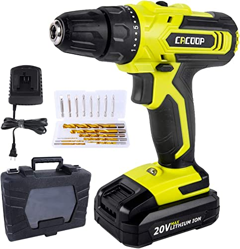 CACOOP 20V Cordless Drill Driver Kit, Power Drill, w 2000mAh Battery, 310 in-lbs Torque, 25 1 Positions, Fast Charger, Built-in LED, 2 Variable Speed, Drills Bits Set for Drilling Wall Floor Metal