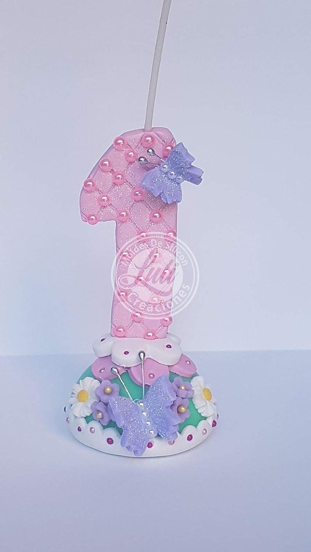 Vela decorada porcelana fría Tema Mariposa Cumpleaños tarta ...