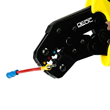 DEDC Professional Ratcheting Wire Crimping Plier Tools Wire Terminal Crimper Tool with Adjustable Crimping Compression (Wire Terminal Crimper Tool) ...