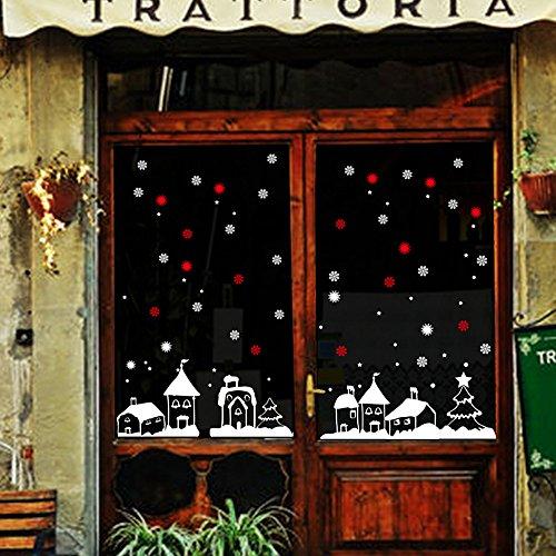 (Pumsun Christmas Shop Window Decoration Wall Stickers Christmas Snowflakes Town (White))