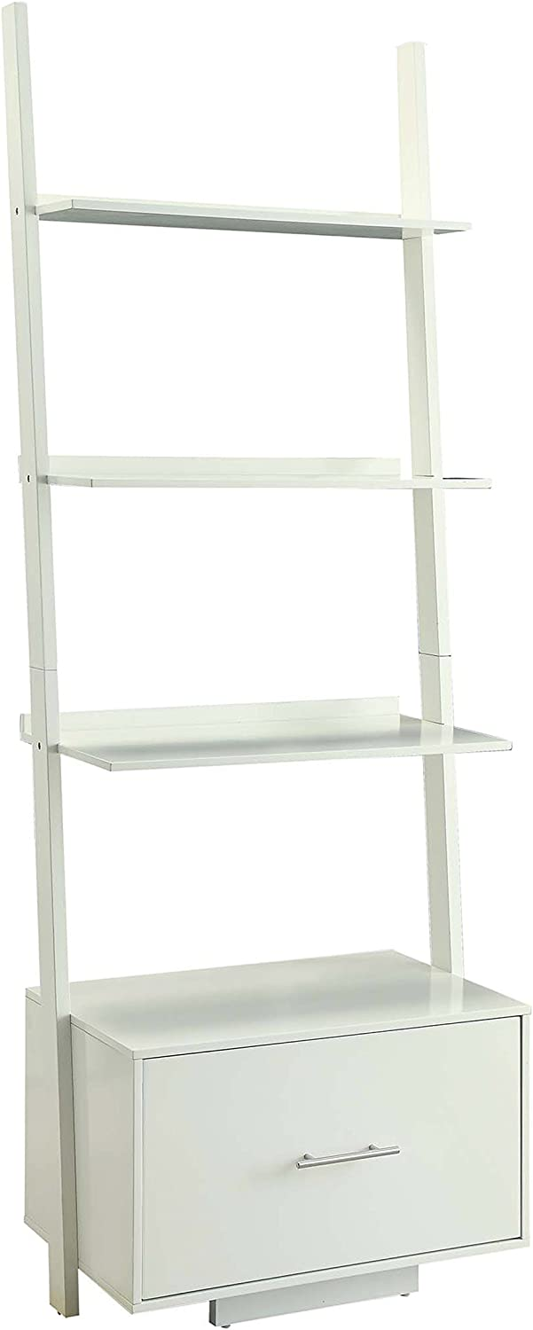 Convenience Concepts Designs2Go American Heritage Ladder Bookcase with File Drawer, White