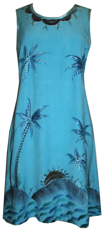 2104 DR Agan Traders Palm Tree Umbrella Short Dress - [Turquoise; S/M]