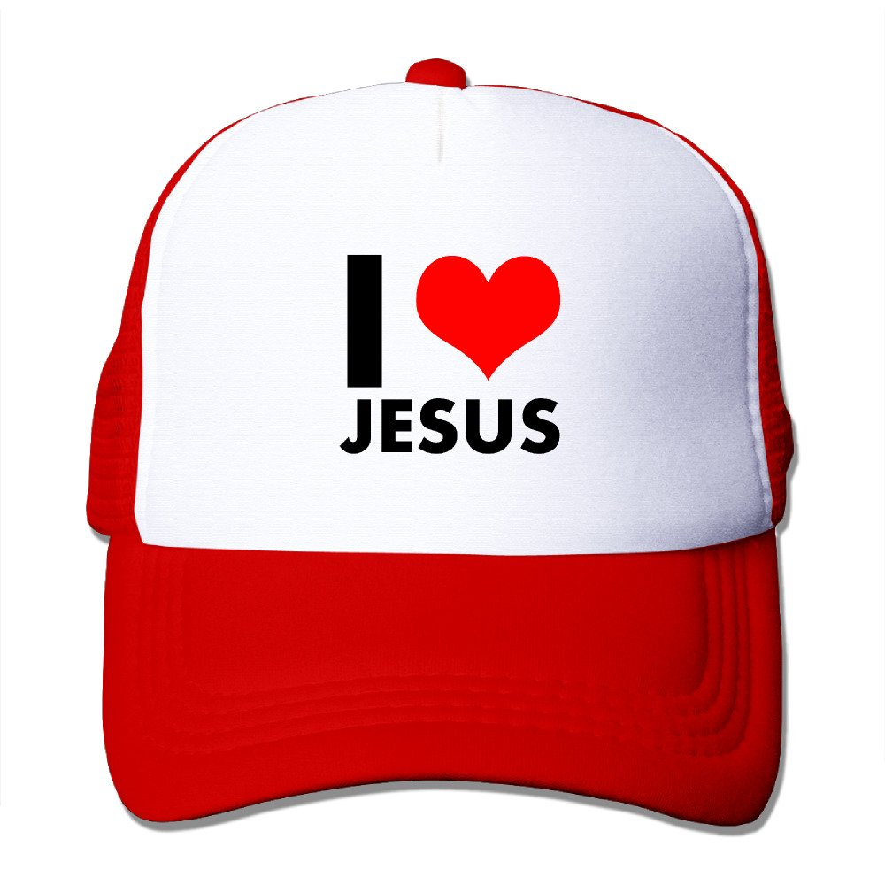 I Love Jesus Heart Trucker Hats & Caps With Adjustable Snapback Strap For Outdoor Red
