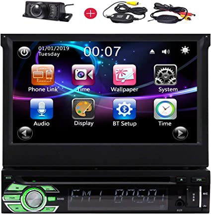 """7/"""" HD Double Flip Up Bluetooth Touch Car Auto Stereo MP5 MP3 Player AM FM Radio"""
